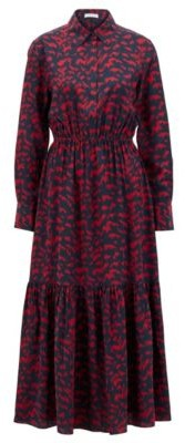 HUGO BOSS Printed shirt dress with ruched waist and polo placket