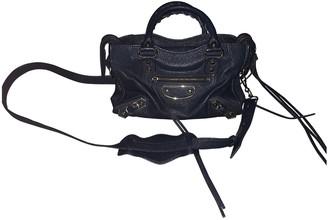 Balenciaga Classic Metalic Blue Leather Handbags