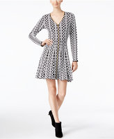 INC International Concepts Jacquard Fit & Flare Sweater Dress, Only at Macy's