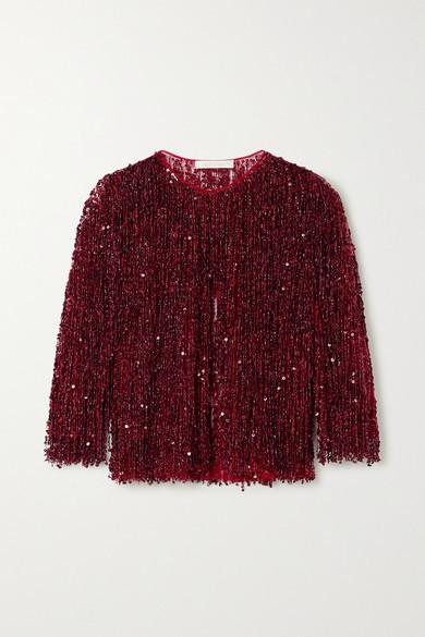 Thumbnail for your product : Naeem Khan Embellished Fringed Tulle Jacket - Claret