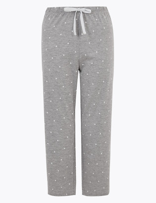 Marks and Spencer Cotton Spot Print Cropped Pyjama Bottoms