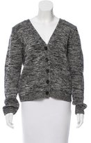 Sandro Leather-Accented Wool Cardigan