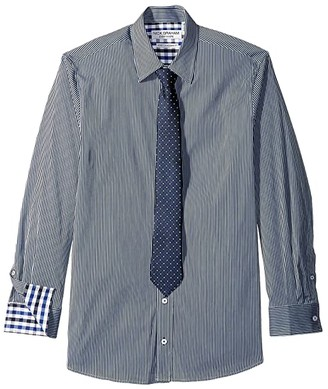 Nick Graham Pencil Stripe Contrast CVC Stretch Dress Shirt Tie Set (Navy/Grey) Men's Clothing