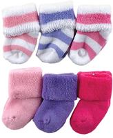 Luvable Friends Pink & Purple Stripe Six-Pair Sock Set - Infant