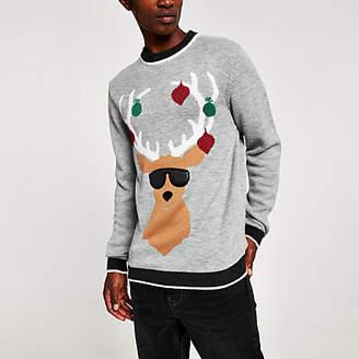 River Island Grey marl reindeer print Christmas jumper