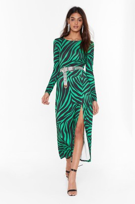 Nasty Gal Womens Cowl of the Wild Zebra Midi Dress - Green