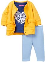 Isaac Mizrahi Heart Flocked Tee, Pointelle Bow Cardigan & Knit Denim Pant Set (Baby Girls 0-9M)