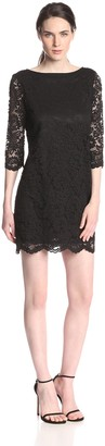 Michael Stars Women's Lace 3/4 Sleeve Back V Dress