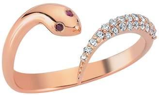 Bee Goddess Serpent White Diamond Ring