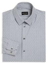 Giorgio Armani Chevron & Striped Regular-Fit Dress Shirt