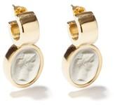 Thumbnail for your product : Simone Rocha Cameo Mini Gold-plated Earrings - White Multi