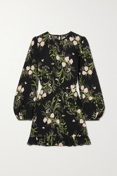 Reformation Resnick Ruffled Floral-print Georgette Mini Dress - Black
