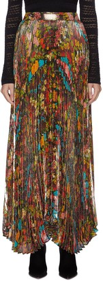 Alice + Olivia 'Katz' pleated floral-print metallic maxi skirt