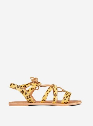 Dorothy Perkins Womens Wide Fit Multi Colour Joy Animal Print Lace Up Leather Sandals, Animal