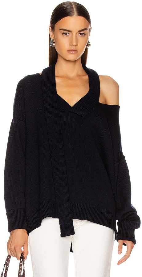 Monse Scarf Neck Drop Shoulder Sweater in Navy | FWRD