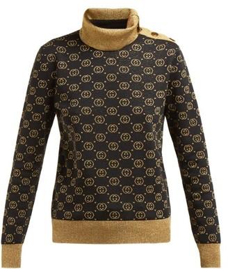 Gucci GG-jacquard Wool-blend Sweater - Womens - Black Gold