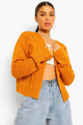 boohoo Soft Knit Cable Crop Cardigan