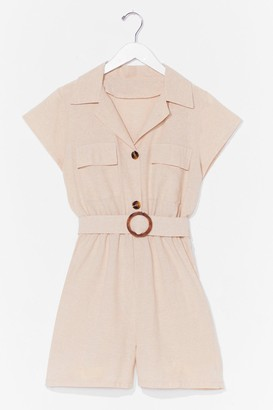 Nasty Gal Womens Met You in the Summer Linen Belted Romper - Stone