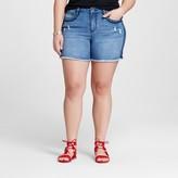 Earl Jean Women's Plus Size Applique Short Blue