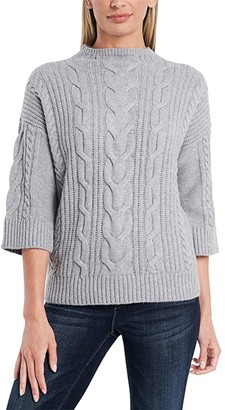 Vince Camuto Elbow Sleeve Cable Stitch Funnel Neck Sweater (Light Heather Grey) Women's Clothing