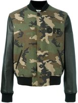 Off-White camouflage print bomber jacket - men - Leather/Polyamide/Viscose/Wool - S