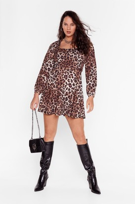 Nasty Gal Womens Plus Size Leopard Mini Dress with Cut-Out Back - Brown