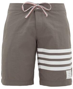 Thom Browne 4-bar Stripe Board Shorts - Mens - Grey