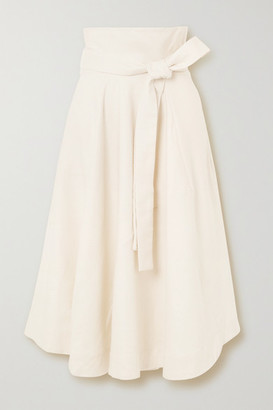 Cult Gaia Asha Belted Linen-blend Midi Skirt - Cream