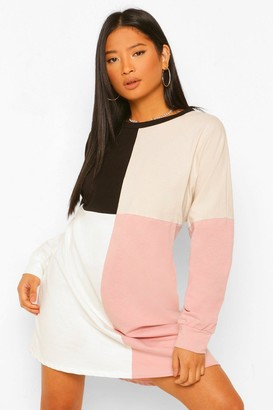 boohoo Petite Colour Block Sweat Dress