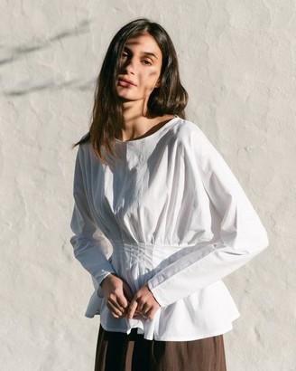 Beaumont Organic Raquel Organic Cotton And Tencel Top White - Size XS