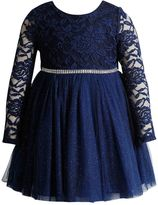 Youngland Toddler Girl Navy Long Sleeve Lace Dress