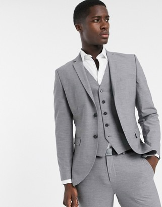 Selected skinny fit suit jacket in gray