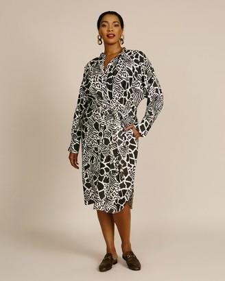 Adam Lippes Printed Silk Twill Tie-waist Dolman Sleeve Dress