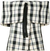 Rosie Assoulin off the shoulder check top - women - Cotton/Linen/Flax - S