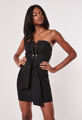 Missguided Black Bardot Lace Up Belted Bodycon Utility Dress