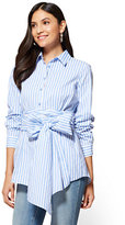 New York & Co. Tie-Detail Poplin Tunic - Stripe