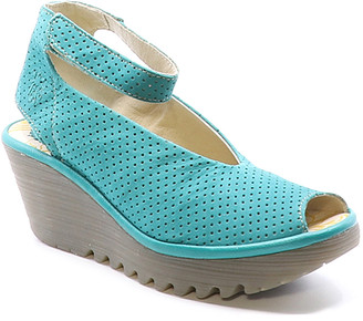 Fly London Women's Sandals 049 - Verdigris Yala Perforated Leather Ankle-Strap Wedge - Women