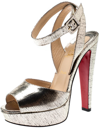 Christian Louboutin Metallic Gold Lame Textured Leather Louloudancing Ankle Strap Platform Sandals Size 37.5