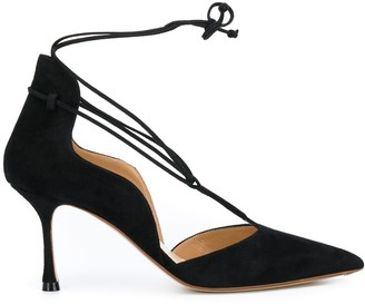 Francesco Russo Lace-Up Pointed Pumps