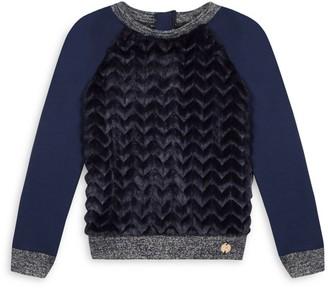 Lili Gaufrette Little Girl's Faux Fur Sweater