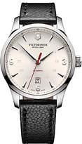Victorinox 241666 Alliance Automatic Date Leather Strap Watch, Black/cream