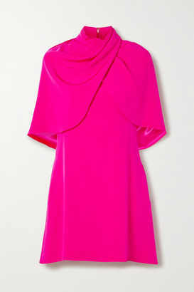 Brandon Maxwell Draped Cape-effect Silk-crepe Mini Dress - Bright pink