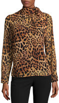 Liz Claiborne Signature Collection Long Sleeve Woven Animal Blouse