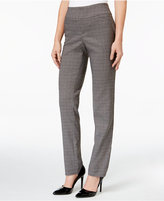 Charter Club Petite Tummy-Control Windowpane Ponte Pants, Only at Macy's