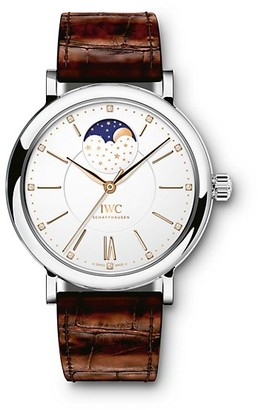 IWC Portofino Stainless Steel, Diamond & Alligator Strap Moon Phase Watch