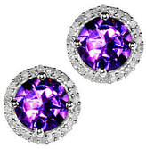 QVC Gemstone & 1/8 ct tw Diamond Sterling Halo StudEarrings