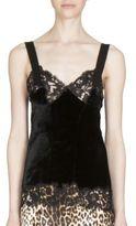 Givenchy Lace-Trim Velvet Top