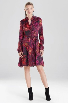 Natori Garden Tapestry Crinkle Satin Shirt Dress