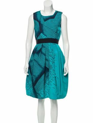 Oscar de la Renta Embroidered Silk Dress w/ Tags Turquoise