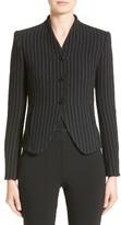 Armani Collezioni Women's Stretch Wool Pinstripe Jacket